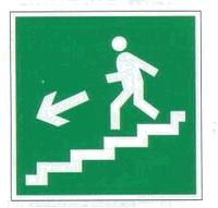 """Знак """"Направление к эвакуационному выходу (по лестнице налево вниз)"""""""