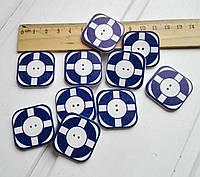 Пуговицы деревянные Спасательный круг 3*3 см, 1 шт