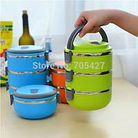 Термо ланч-бокс из нержавеющей стали Easy lock 2,1 литра, три контейнера для еды с плотными крышками