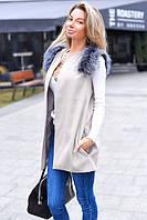 Стильная женская жилетка кашемир с мехом на плечах