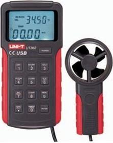 Измеритель скорости и температуры воздушного потока, термоанемометр UT362