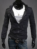Чёрная каттоновая куртка с карманами на кнопках.Код-7015bk