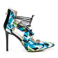 Женские цветные туфли на шпильке с завязками