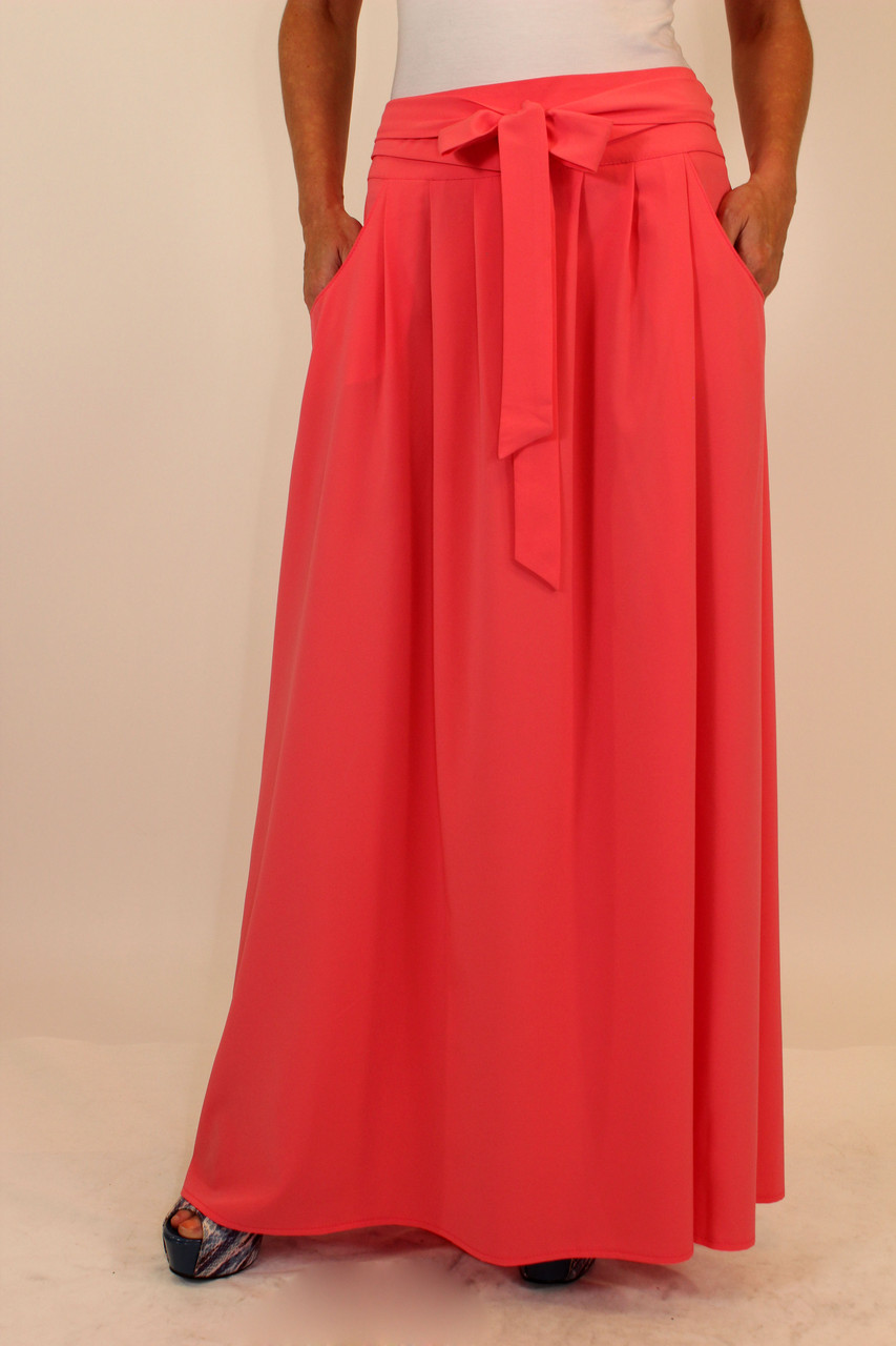 Летняя длинная юбка с поясом и карманами 48 р