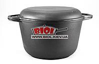 Кастрюля чугунная 6 л с чугунной крышкой сковородкой БИОЛ 0206. Чугунная посуда Биол