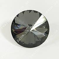 Пуговица с металлическим ушком 25мм*1шт. Стекло.Цвет Black Diamond