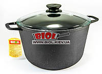 Кастрюля чугунная 6 л со стеклянной крышкой БИОЛ 0206С. Чугунная посуда Биол