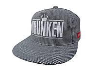 Серая кепка DRUNKEN в клетку с белым логотипом