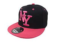 Кепка Snapback New York черная с розовым козырьком