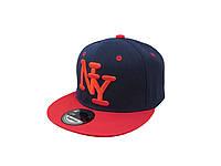 Кепка Snapback New York чернаяя с красным козырьком