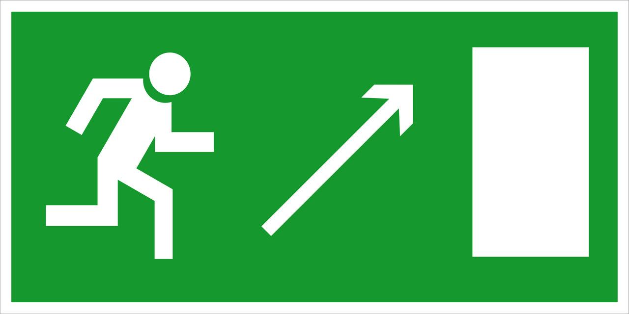 """Знак """"Направление к эвакуационному выходу(по наклонной плоскости направо вверх)"""""""