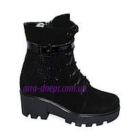 Женские демисезонные замшевые ботинки на шнуровке, декорированы стразами., фото 1