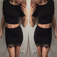 Женский стильный костюм Юбка+ топ  черный, марсель