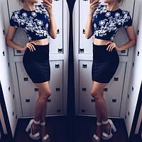 Женский стильный костюм Юбка+ топ  черный и белый, фото 1
