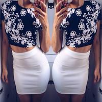 Женский стильный костюм Юбка+ топ  белый