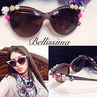 Женские красивые солнцезащитные очки с цветами на оправе p-4316121