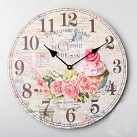 """Замечательный декор для кухни часы """"Капкейк"""" диаметр 35 см"""