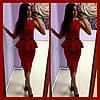 Женское Платье баска красное