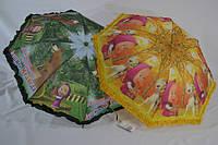 """Детский складной зонт №338 с узором """"Маша и Медведь"""" полуавтомат в 2 сложения и рюшей по краю."""