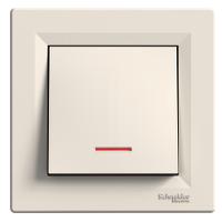 EPH1400123. Выключатель Одноклавишный С подсветкой Самозажимные контакты Кремовый ASFORA
