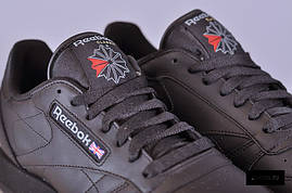 Кроссовки рибок CL leather (3912) черные, фото 3