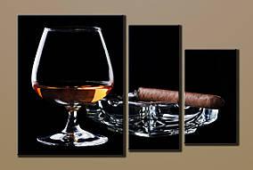 """Модульная картина на холсте """"Коньяк с сигарой"""""""