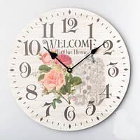 """Круглые настенные часы """"Welcome"""" (35 см)"""