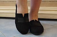 Черные туфли на плоском ходу из эко замша.. АРТ-0532