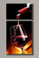 "Модульная картина на холсте ""Бокал вина"""