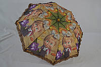 """Детский складной зонт с узором """"Маша и Медведь"""" полуавтомат в 2 сложения и рюшей по краю."""