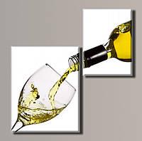 "Модульная картина на холсте ""Белое вино"""