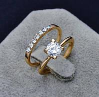 Кольцо позолота двойное