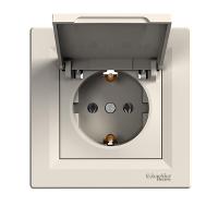 EPH3100123. Розетка С крышкой и  заземляющим контактом Кремовый  ASFORA