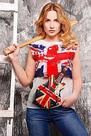 """Футболка женская """"Британский флаг с гитарой"""""""