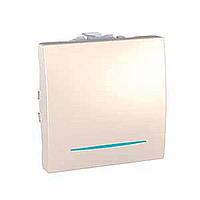 MGU3.203.25N. Переключатель 1-клавишный. Проходной. (СХ.6) С подсветкой. 10А, 2-модульный. Слоновая кость Unica