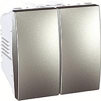 MGU3.211.30. Выключатель 2-клавишный. (СХ.5) 10А, 2-модульный. Алюминий Unica