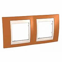 MGU6.004.569. Рамка 2-постовая. Unica Plus. Оранжевый/Слоновая кость Unica