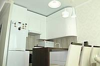 Кухня хай-тек белая с крашеными фасадами МДФ, фото 1
