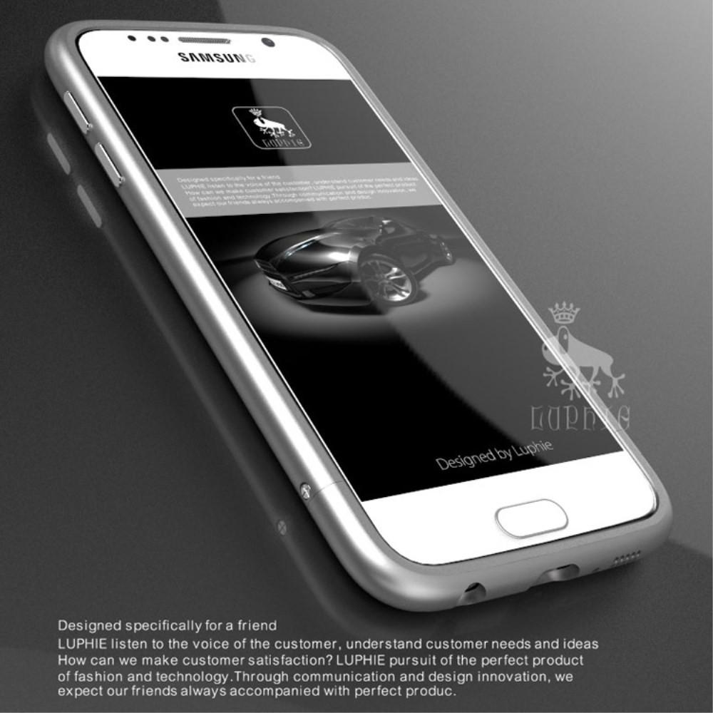 Чехол бампер металл Luphie Arc Edge для Samsung Galaxy S6 G920 серебро