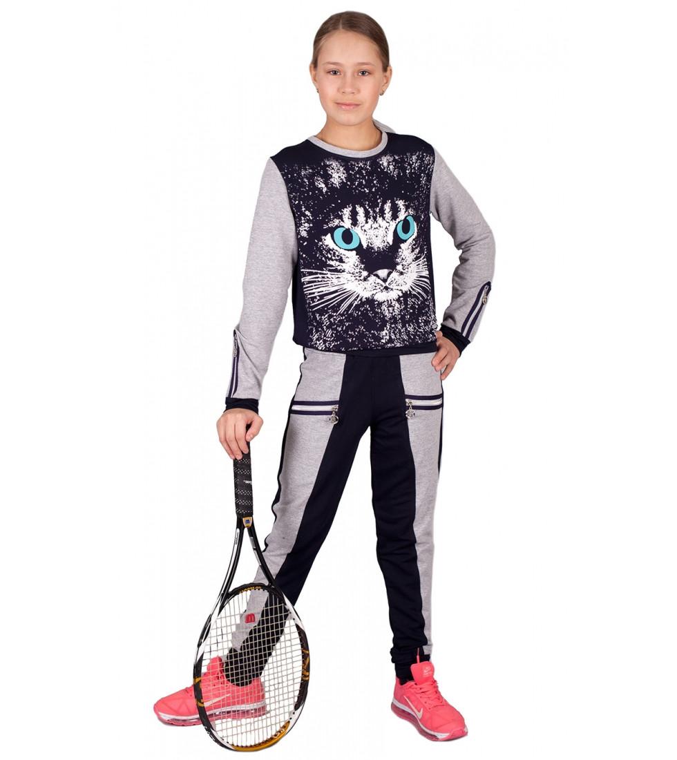 Детский спортивный костюм на девочку подростковый, Кошка 146
