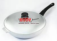 Сковорода алюминиевая 30 см рифленое дно, пластиковая ручка, крышка БИОЛ А302