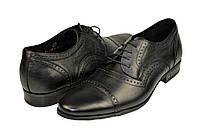 Мужские кожаные туфли на шнурках mida 11258ч черные   весенние , фото 1