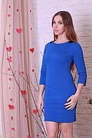Приталенное модное женское платье прямого силуэта с кожаными вставками.