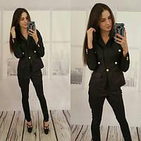 Женский костюм пиджак+брюки черный ВФ-05