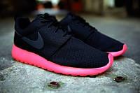 Мужские кроссовки Nike roshe run Black/Red (36-45 Размеры)
