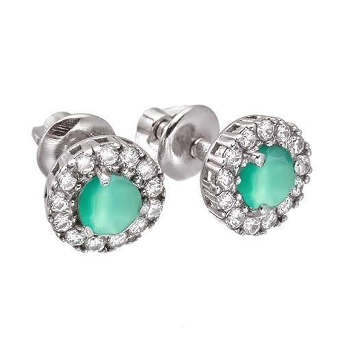 Серебряные серьги пуссеты гвоздики с зеленым агатом и фианитом, цирконием 31652