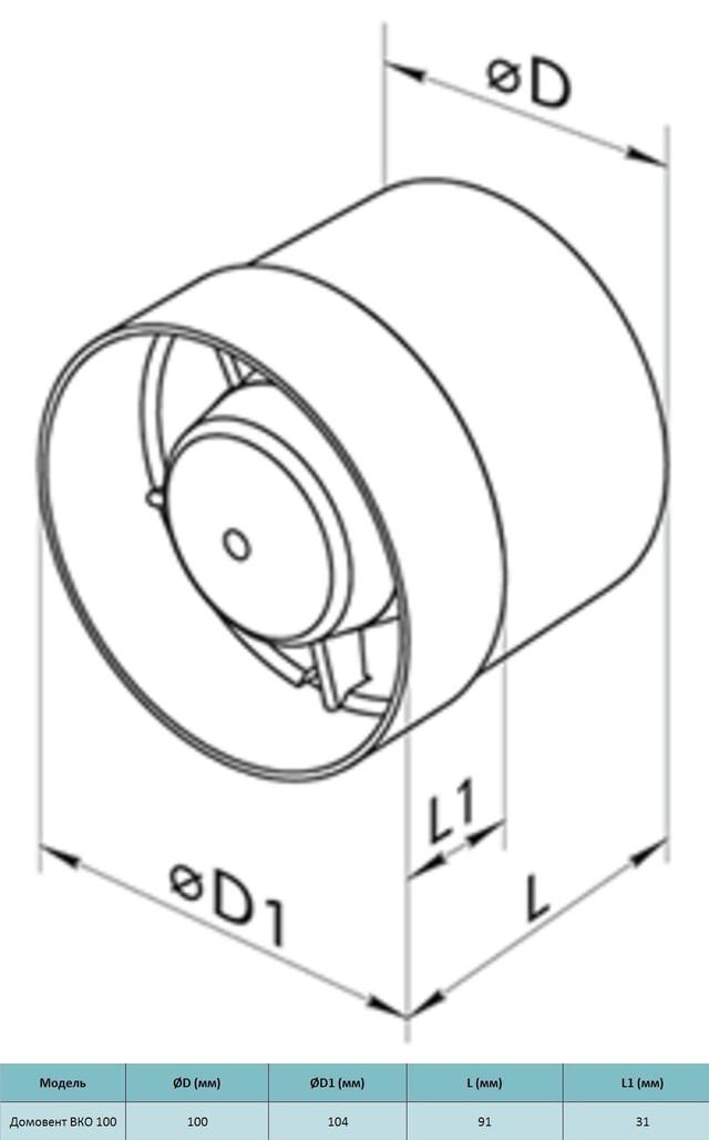 Габариты бытового осевого канального вентилятора Домовент ВКО 100. Купить заказать в украине киеве, цена, доставка, фото, отзывы