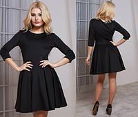 Модное чёрное платье юбка клёш с пояском Арт.-5135/48