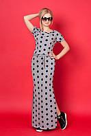 Длинное женское платье с разрезом в синий горох