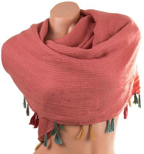 Красочный женский хлопковый шарф 162 на 140 см. ETERNO (ЭТЭРНО) ES1405-15-5, оранжевый